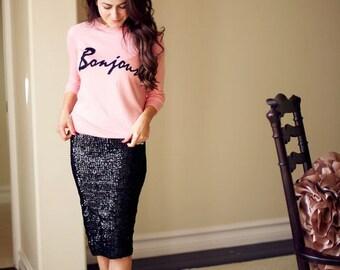 MIDI Sequin Skirt, Women Sequin Mini Skirt