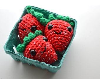 Strawberries play food set - amigurumi style crochet fruit (set of 3)