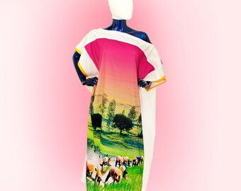 Swimsuit cover up Kaftan Beach Green Landscape fabric dress Caftan maxi dress loose fitting oversize slouchy beach Long rice field XXXL