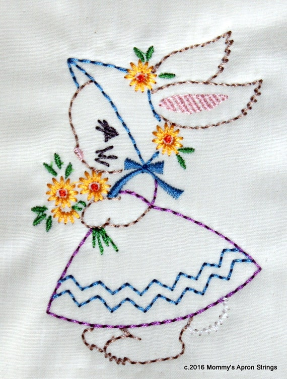 Girl Bunny Baby Kids Easter Machine Embroidery Design 4x4