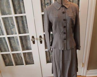 1940's Grey Wool Wedding Suit