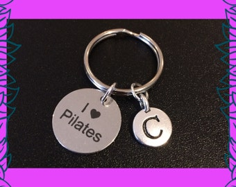 Pilates gift, pilates keyring, fitness charm keyring, I love pilates keychain, I heart pilates, personalised custom letter charm UK