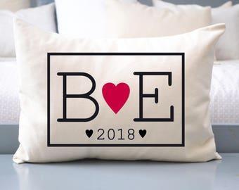 Anniversary gift, wedding gift idea, 2nd anniversary, heart pillow, personalized pillow, wedding date, monogram pillow