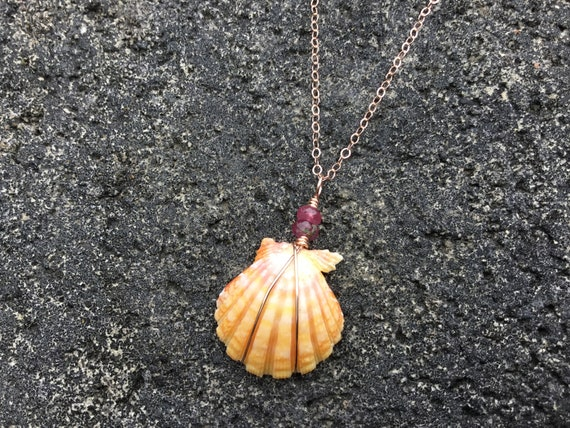 Hawaiian Sunrise Shell, Pink, Yellow Orange, Pink Tourmaline Semi Precious Gemstone, 14k Rose Gold Filled Wire Wrapped Chain Necklace