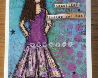 She is beautiful inside and out Greetings card