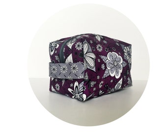 Large Waterproof Cosmetic Bag. Makeup Bag. Cute Purple and Grey Floral Print Bag. Toiletry Bag. Zippered Bag.