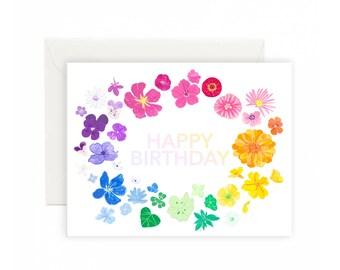 Rainbow Floral wreath Happy Birthday Greeting Card