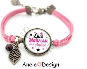 Bracelet for teacher, teacher, thank you teacher gift, pink white, Center one of the year, cabochon star