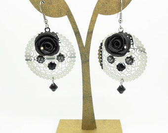 earrings with black roses, swarovski pearls and stainless steel prints