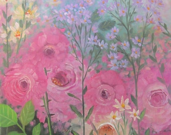 English Garden original oil painting 11x14