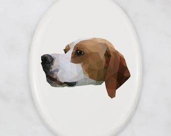 A ceramic tombstone plaque with a Pointer dog. Art-Dog geometric dog