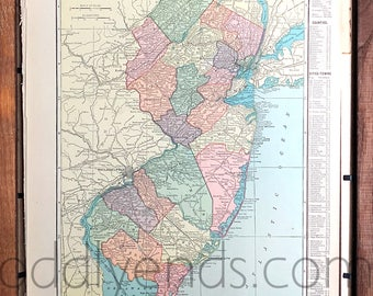 Vintage New Jersey Map, 1904 Original Atlas Antique, Atlantic City, Jersey City, Newark