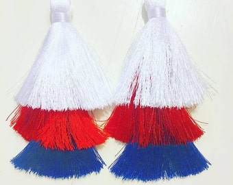 Red White and Blue USA Tassel earrings