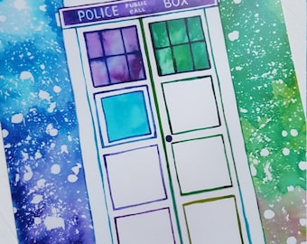 Tardis inspired art card print (Size 7x5 inches)