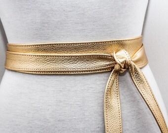 Gold Obi Belt | Leather Bridal Belt | Sash belt | Obi Belt | Plus Size accessory | Thin Gold Leather Belt| Bridesmaid Belt | Wrap Belt