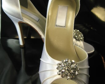 SALE Wedding Shoes Bridal Shoes White Satin or Ivory Satin Over 100 Colors To Pick From Wedding Shoes with Rhinestone Crystal Flower