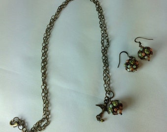 Beaded  Bead Necklace And Earring Set