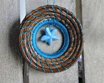 Blue Starfish Ornament Blue Sea Star Pine Needle Ornament Native American Pine Needle Coiled Christmas Ornament Pine Needle Basketry