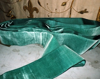 "Vintage Velvet Fine rayon Ribbon Trim Aqua Wide 3 1/8"" Yardage available old store stock"