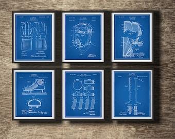 Blueprint art etsy hockey blueprint set of 6 patents hockey blueprint poster hockey blueprint art hockey malvernweather Image collections