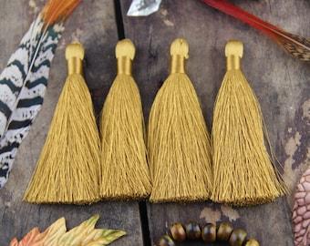 "Oak Buff Golden Silky Luxe Tassels FALL, Autumn Popular Color, 2 Silky Handmade Long Tassels, Designer Jewelry Making Supply, 3.5"", 2 Pieces"
