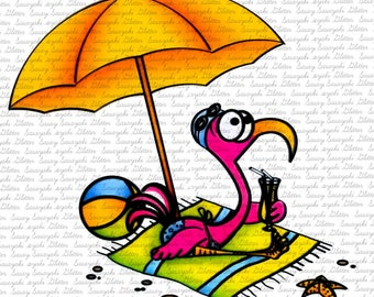 Flamingo on the beach Digital Stamp by Sasayaki Glitter - Naz Smith - Line art only - Black and white