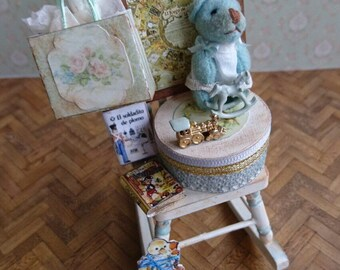 Miniature 1:12, rocking chair with Doll house toys