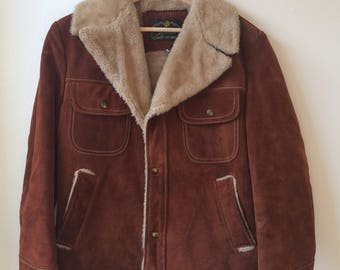 Vintage Genuine Leather Brown Suede Lined 70s Jacket