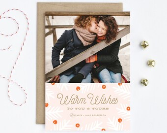 Family Christmas Photo Card - Warm Wishes in Pink