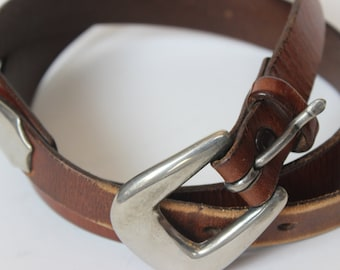 Brown James Jones Leather Belt with Silver Belt Buckle and Silver Arrowheads Vintage Size 32