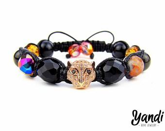 Women bracelet , Shamballa bracelet , Women shamballa , Handmade bracelet , Boho bracelet , Leopard bracelet , Black bracelet , Gift for her