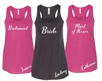 Wedding Party Shirts, Personalized Bridesmaid Tanks, Bridesmaid Flowy Tanks, Bachelorette Party Tank Tops, Bridesmaid Tanktops