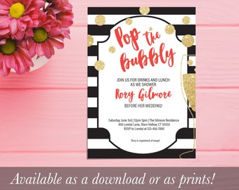 Pop the Bubbly Striped Bridal Shower Invitation