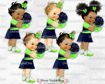 Cheerleader Navy Blue Lime Green Uniform & Pom Poms |  Vintage Baby Girl | 3 Skin Tones | Clipart Instant Download