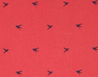 Cotton + Steel Honeymoon, Colibri Coral, Sarah Watts Fabric, 2023-02, Coral Pink Bird Fabric, Navy Blue Bird Fabric, Small Bird Print
