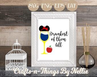 Snow White Disney Wine Glass SVG