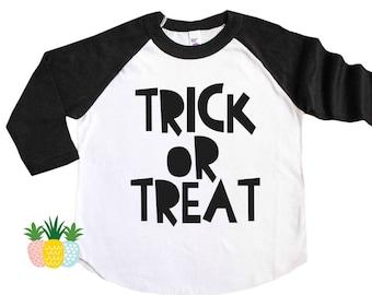 Kid's Trick of Treat Shirt - Kid's Halloween Shirt - Girl's Halloween Tee - Boy's Halloween Shirt - Halloween Raglan Tee - Halloween Outfit