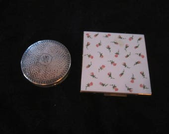 2 Vintage Compacts - Sterling  Silver Compact - Elgin American USA Compact - Collectibles - Vintage Sterling - Retro Powder Compacts