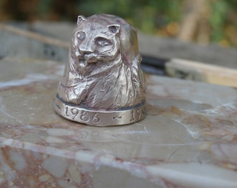 Vintage Year of Tiger Brass Sculpted Thimble, Chinese Zodiac Collectible