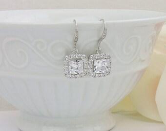 FREE US Shipping Cubic Zirconia Bridal Earrings Cushion Cut CZ Bridal Earrings Square Cz Bridal Earrings Emerald Cut Bridal Earrings