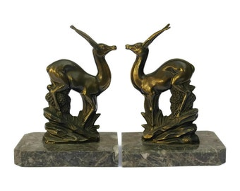 French Art Deco Antelope Bookends. Vintage Gazelle Figurine and Marble Book Ends. Office Decor.