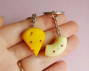 BFF Mac and cheese keychain, Food keychain, Food necklace, Best friend necklace, Bff necklace, Best friend keychain, kawaii keychain