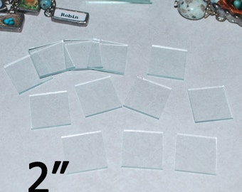 10 Pack of 2 Inch Squares - 2 x 2 inch Clear Pendant Glass - MAGNET or ORNAMENT size