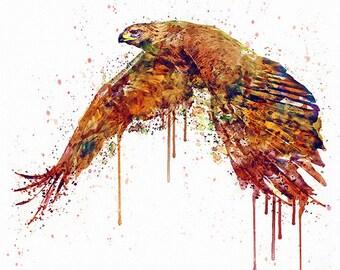 Flying Hawk Watercolor painting Wall art Printable art Bird decor Aquarelle Contemporary art Bird art For the room Wildlife Hawk painting