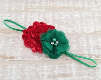 Red and Green Holiday Headband, Christmas Headband, Baby Girl Headband, Newborn Headband, Baby Headband, Infant Headband, Green Headband