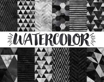 Black and White Digital Paper / Black and White Watercolor Paper / Modern Digital Background / Black Geometric Pattern / Black Digital Paper