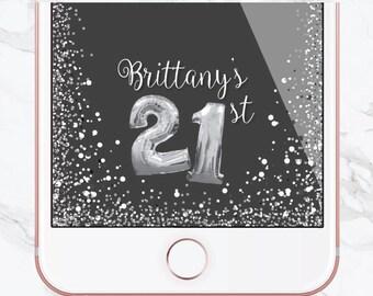 Birthday Snapchat Filter, Birthday Filter, Geofilter, Customized Birthday, Snapchat Geofilter, Sweet 16, Number Balloons, Silver, Glitter