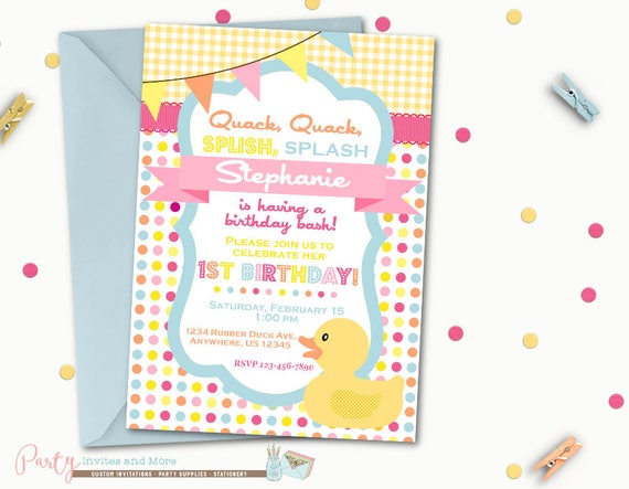 Rubber duck birthday invitation rubber duck invitation like this item filmwisefo Image collections