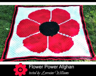 C2C Graph, Flower Power, C2C Graph, and Written Word Chart, Corner to Corner, Flower C2C Graph, Flower Afghan