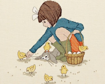 Belle Feeds the Chicks Cross Stitch Pattern Downloadable PDF Make a wish